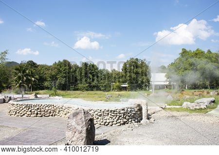 Stone Pool Mineral Hot Water For Thai People And Foreign Travelers Travel Visit And Cooking Boiling