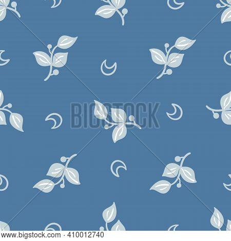 Celestial Boho Kids Seamless Pattern With Blue Moon And Tree Branches, Dark Celestial Sky Digital Pa