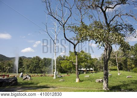 Landscape Mountain Forest At San Kamphaeng Hot Springs Onsen In Mae On District For Thai People And