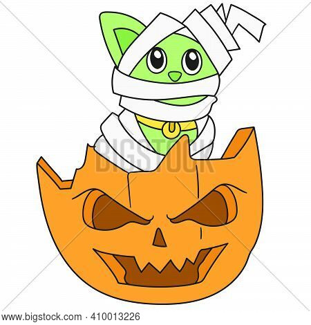 Halloween Party With Mummy And Pumpkin Decorations. Doodle Icon Image. Cartoon Caharacter Cute Doodl