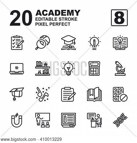 Icon Set Of Academy. Outline Style Icon Vector. Contains Such Of Geography, Hat Graduation, Music, E