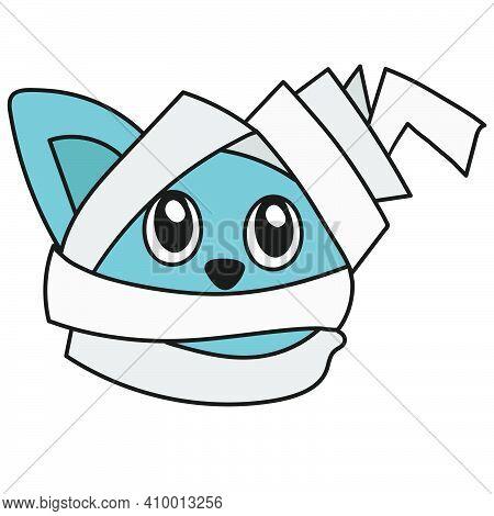 Mummy Bandage Cat Emoticon. Doodle Icon Image. Cartoon Caharacter Cute Doodle Draw