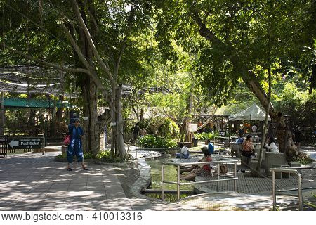 Thai People And Foreign Travelers Walking Travel Visit And Sitting Rest Relax Outdoor Garden Of San