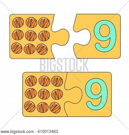 Educational Game For Kids. Find The Right Picture For The Number. Puzzle With Number Nine And Chocol