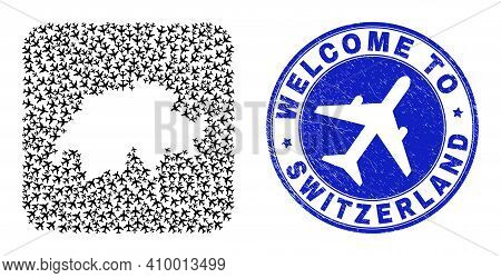 Vector Mosaic Switzerland Map Of Air Flight Elements And Grunge Welcome Seal. Collage Geographic Swi