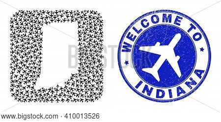 Vector Collage Indiana State Map Of Air Plane Elements And Grunge Welcome Badge. Collage Geographic