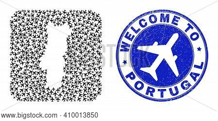 Vector Mosaic Portugal Map Of Tourism Elements And Grunge Welcome Seal. Collage Geographic Portugal