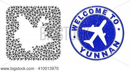 Vector Mosaic Yunnan Province Map Of Air Vehicle Items And Grunge Welcome Stamp. Mosaic Geographic Y