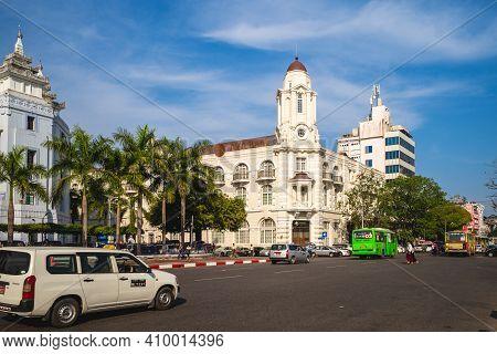 February 8, 2016: Headquarter Of Ayeyarwady Bank In Yangon, Burma Myanmar, Sited At Former Rowe And