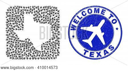 Vector Collage Texas State Map Of Delivery Elements And Grunge Welcome Seal Stamp. Collage Geographi