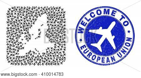 Vector Collage European Union Map Of Air Plane Elements And Grunge Welcome Seal Stamp. Collage Geogr