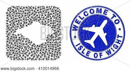 Vector Collage Isle Of Wight Map Of Tourism Items And Grunge Welcome Stamp. Mosaic Geographic Isle O