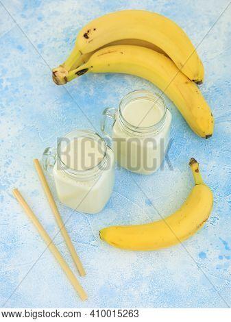 Banana Yogurt Or Smoothie, Vegetarian Food, Diet And Health Concept