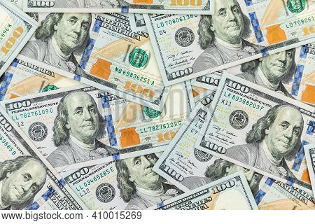 Texture With Us Dollars. Background Of One Hundred Dollar Bills.
