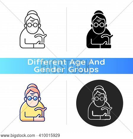 Female Pensioner Icon. Senile Woman. Old-old Age. Aging Process. Person Aged 90-and-older. Receiving