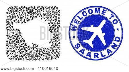 Vector Collage Saarland Land Map Of Items And Grunge Welcome Seal Stamp. Mosaic Geographic Saarland