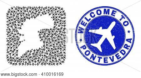 Vector Collage Pontevedra Province Map Of Jorney Items And Grunge Welcome Stamp. Collage Geographic