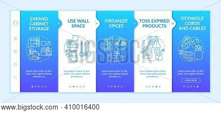 House Cleaning Tips Onboarding Vector Template. Use Wall Space And Organize . Toss Expired Products.
