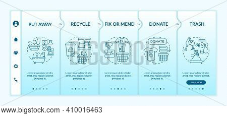 Sorting Unnecessary Things Onboarding Vector Template. Put Away And Recycle. Donate And Trash. Fix O