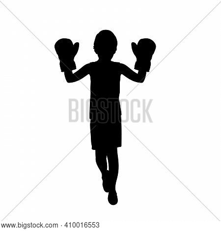 Silhouette Boy Wearing Boxer Gloves. Illustration Graphics Icon Vector