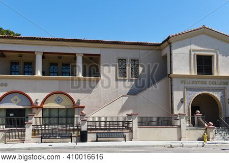 FULLERTON, CALIFORNIA - 21 MAY 2020: College Center Building on the campus of Fullerton College.