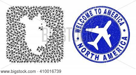 Vector Collage North America V2 Map Of Aero Elements And Grunge Welcome Seal Stamp. Collage Geograph