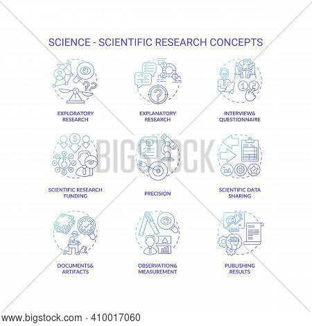 Science And Scientific Researching Dark Gradient Concept Icons Set. Scientific Research Funding Idea