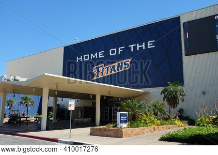 FULLERTON CALIFORNIA - 22 MAY 2020: Home of the Titans over the Kinesiology and Health Sciences building on the campus of California State University Fullerton, CSUF.