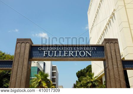 FULLERTON CALIFORNIA - 23 MAY 2020: Closeup of the sign and arch at Langsdorf Hall on the campus of California State University Fullerton, CSUF.