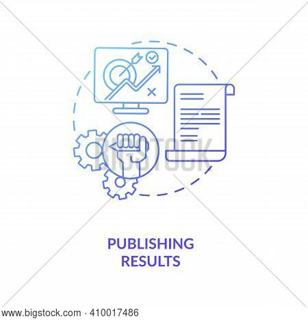 Publishing Results Concept Icon. Disclosuring Of Studies Findings Idea Thin Line Illustration. Publi