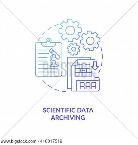 Scientific Data Archiving Concept Icon. Researching Information Idea Thin Line Illustration. Test Hy