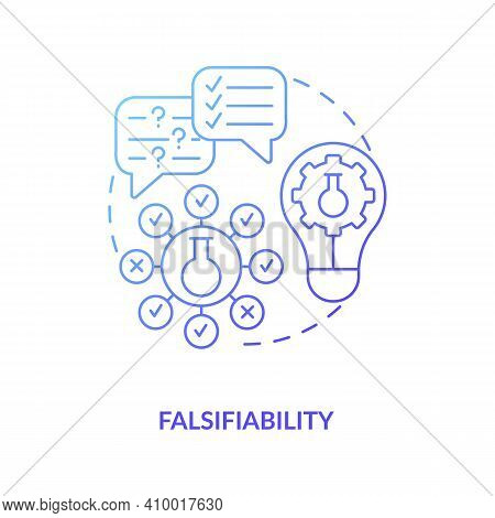 Falsifiability Concept Icon. Scientific Knowledge Idea Thin Line Illustration. Theory And Hypothesis
