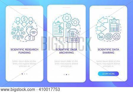 Scientific Research Components Onboarding Mobile App Page Screen With Concepts. Scientific Data Shar