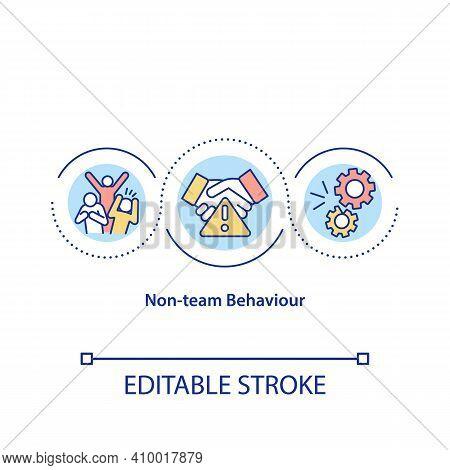 Non-team Behaviour Concept Icon. Unproductive Workers Idea Thin Line Illustration. Dysfunction And S