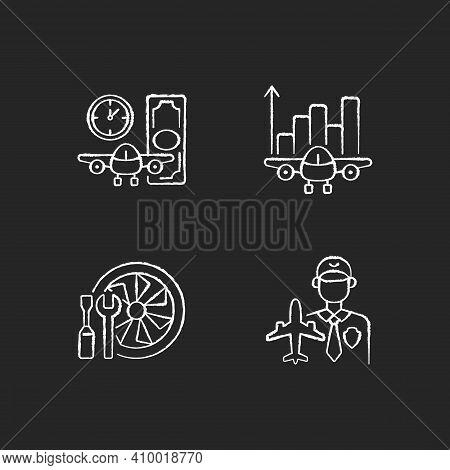 Aviation Chalk White Icons Set On Black Background. Aircraft Maintenance. Aviation Security And Flig