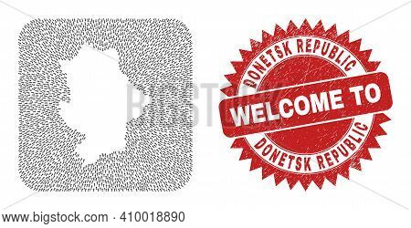 Vector Mosaic Donetsk Republic Map Of Moving Arrows And Grunge Welcome Badge. Mosaic Geographic Done