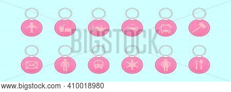 Set Of Keychains Cartoon Icon Design Template With Various Models. Modern Vector Illustration Isolat