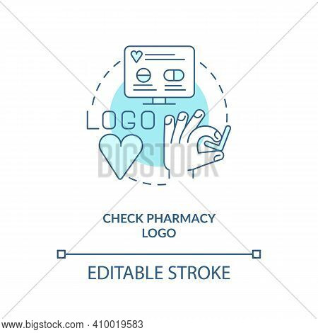 Check Pharmacy Logo Concept Icon. Online Pharmacy Idea Thin Line Illustration. Buying Medicines. Get