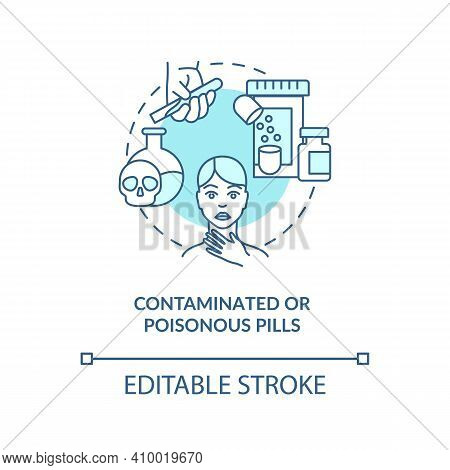 Contaminated Or Poisonous Pills Concept Icon. Buying Drugs. Online Pharmacy Idea Thin Line Illustrat