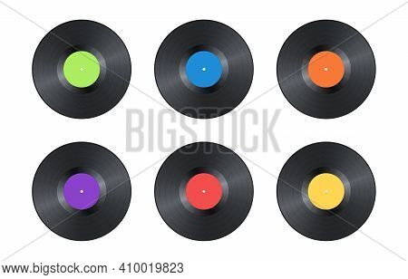 Set Of Realistic Black Vintage Vinyl Record Isolated On White Background. Mock Up Template For Your