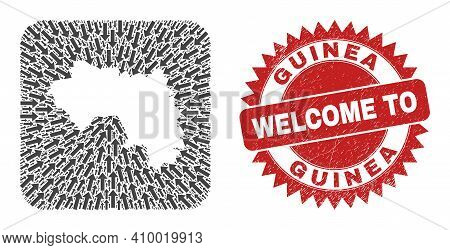 Vector Collage Republic Of Guinea Map Of Pointer Arrows And Rubber Welcome Stamp. Collage Geographic
