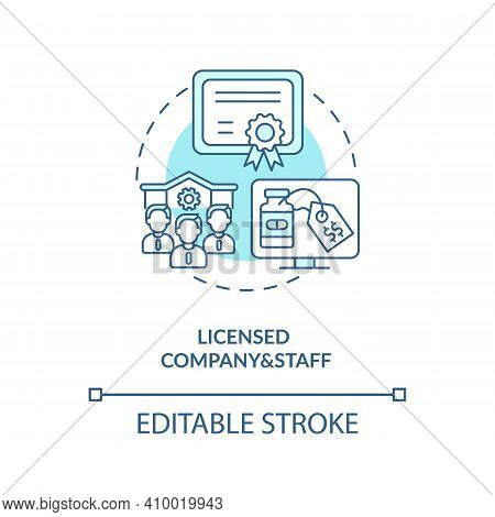 Licensed Company And Staff Concept Icon. Online Pharmacy Idea Thin Line Illustration. Safe Online Ph