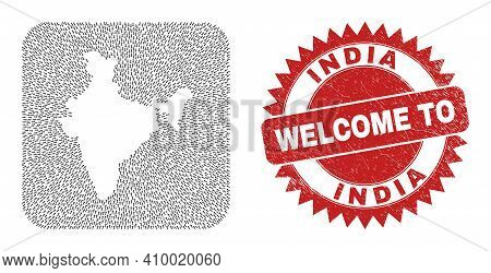 Vector Mosaic India Map Of Navigation Arrows And Rubber Welcome Seal Stamp. Mosaic Geographic India