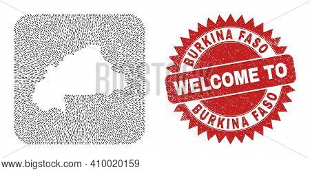 Vector Collage Burkina Faso Map Of Pointing Arrows And Rubber Welcome Stamp. Collage Geographic Burk