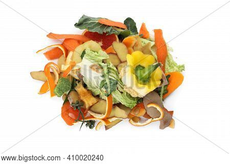 Pile Of Organic Waste For Composting On White Background, Top View