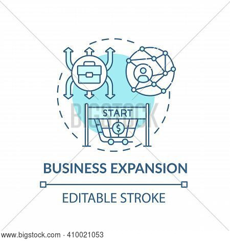 Business Expansion Concept Icon. Business Growth Idea Thin Line Illustration. Sales Employees. Gener