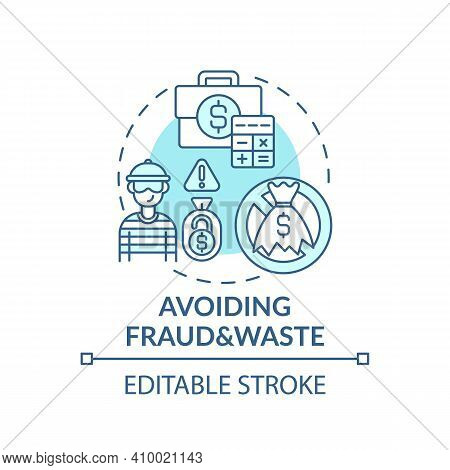 Avoiding Fraud And Waste Concept Icon. Statistics, Data Management And Fraud Idea Thin Line Illustra