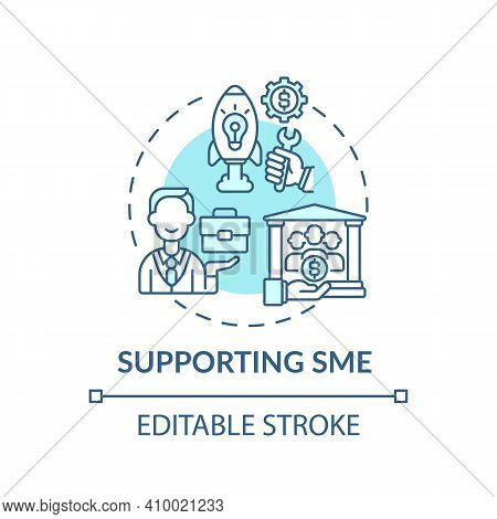 Supporting Sme Concept Icon. Money Help For Small And Medium Businesses Idea Thin Line Illustration.