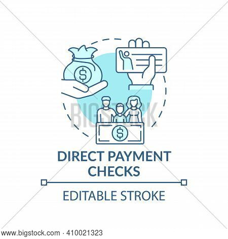 Direct Payment Checks Concept Icon. Deposit Of Funds Electronically In Bank Account Idea Thin Line I