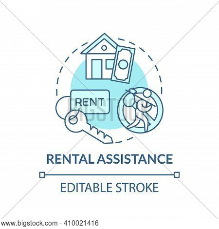 Rental Assistance Concept Icon. Monetary Help By Government Idea Thin Line Illustration. Rental Subs
